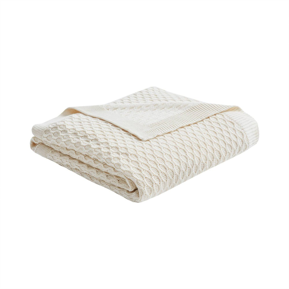 50 34 x 60 34 Malone Cotton Knit Throw Tan