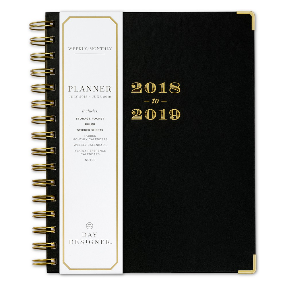 2018 - 2019 Spiral Day Designer Monthly Weekly Planner - Black