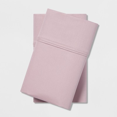 King 400 Thread Count Solid Cotton Performance Pillowcase Set Mauve - Threshold™