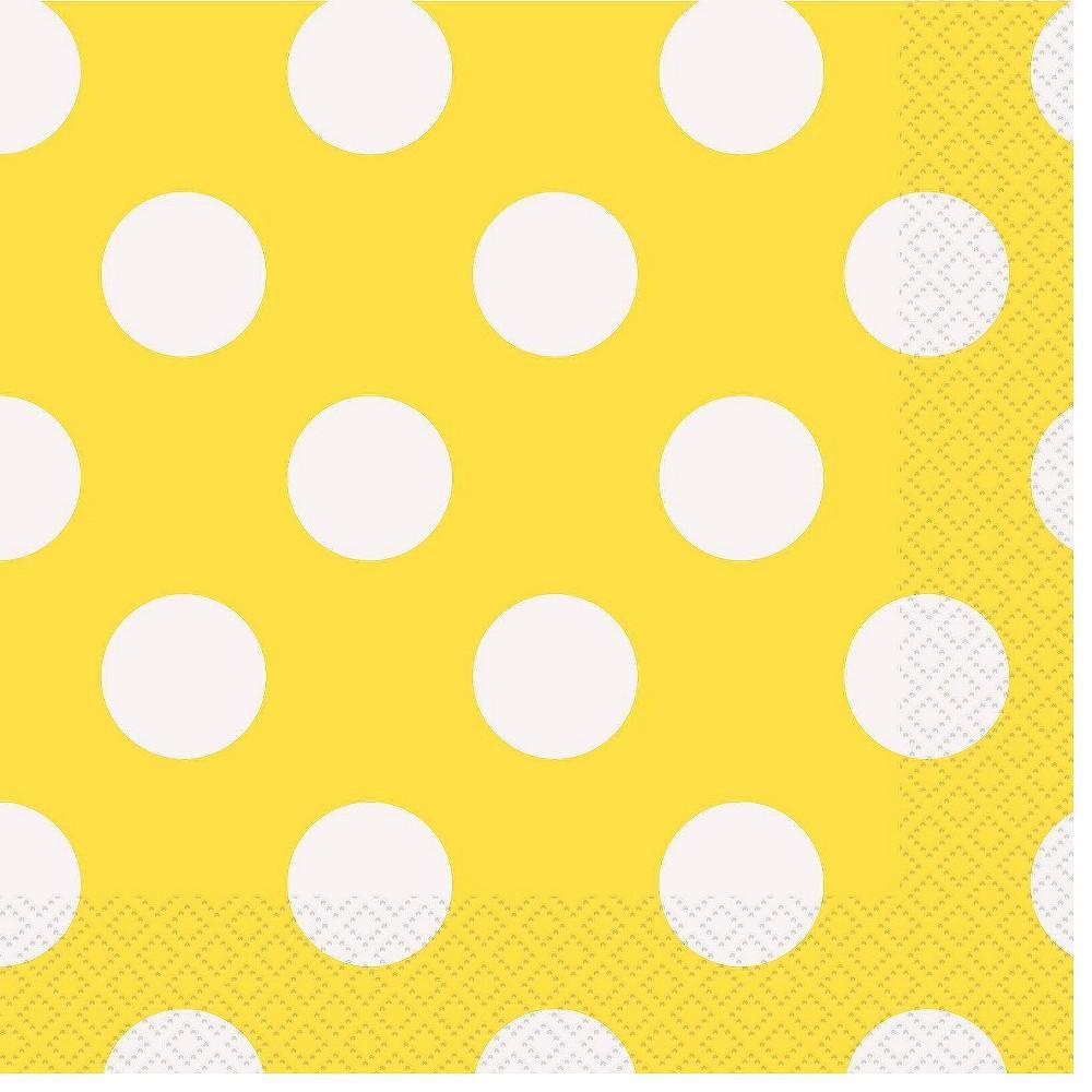 Image of 50ct Yellow & White Polka Dot Cocktail Beverage Napkin