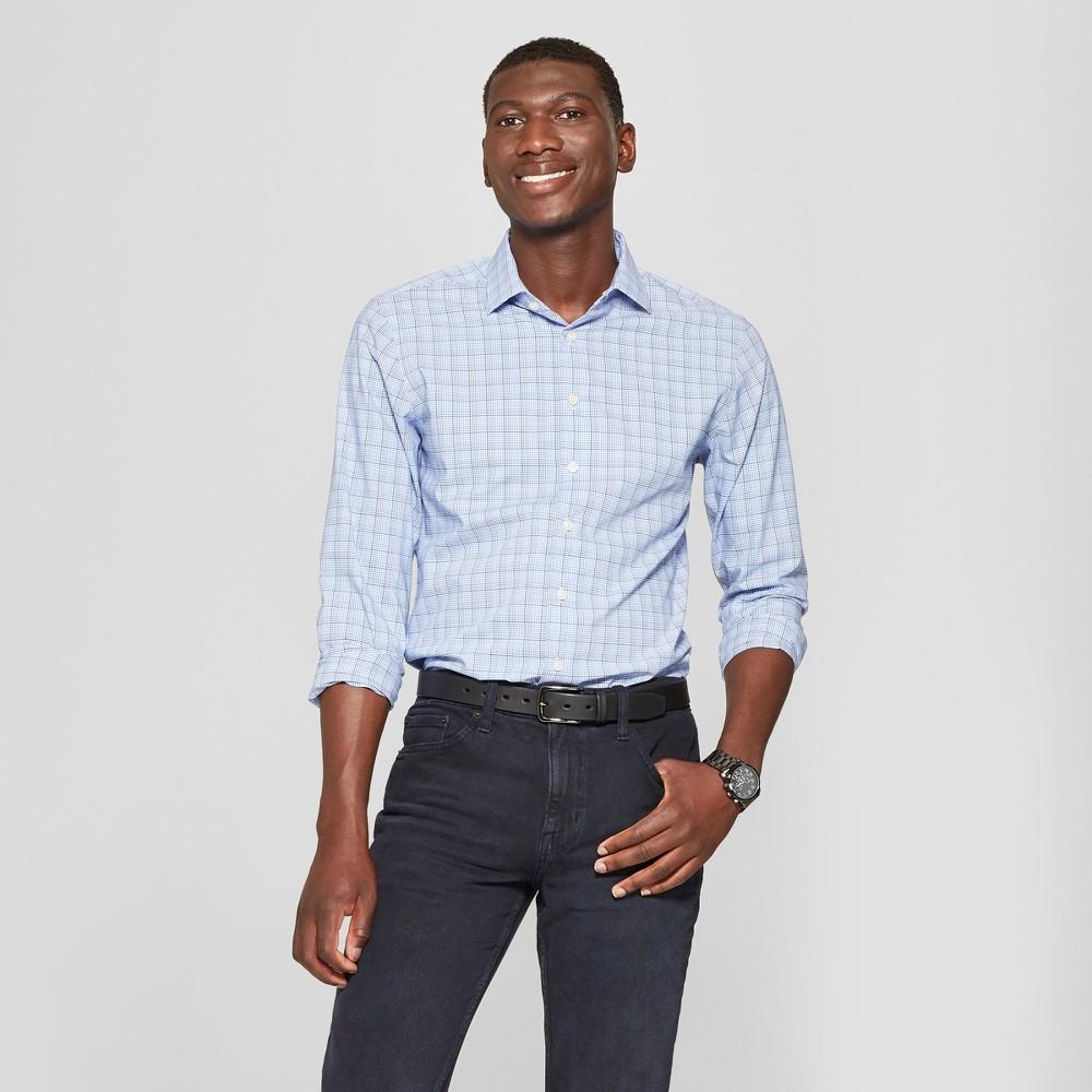 Men's Standard Fit Long Sleeve Button-Down Dress Shirt - Goodfellow & Co Horizon Blue L