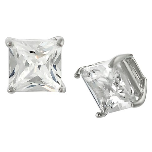 1 1/10 CT. T.W. Square-cut CZ Basket Set Stud Earrings in Sterling Silver - Silver (5MM) - image 1 of 1
