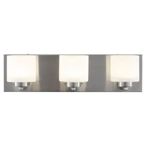 "5"" Clean 3 Light LED Bath Vanity Satin Nickel Finish/Etched Opal Glass - Varaluz - image 1 of 4"