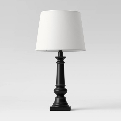 Column Lamp Black with Linen Shade - Threshold™