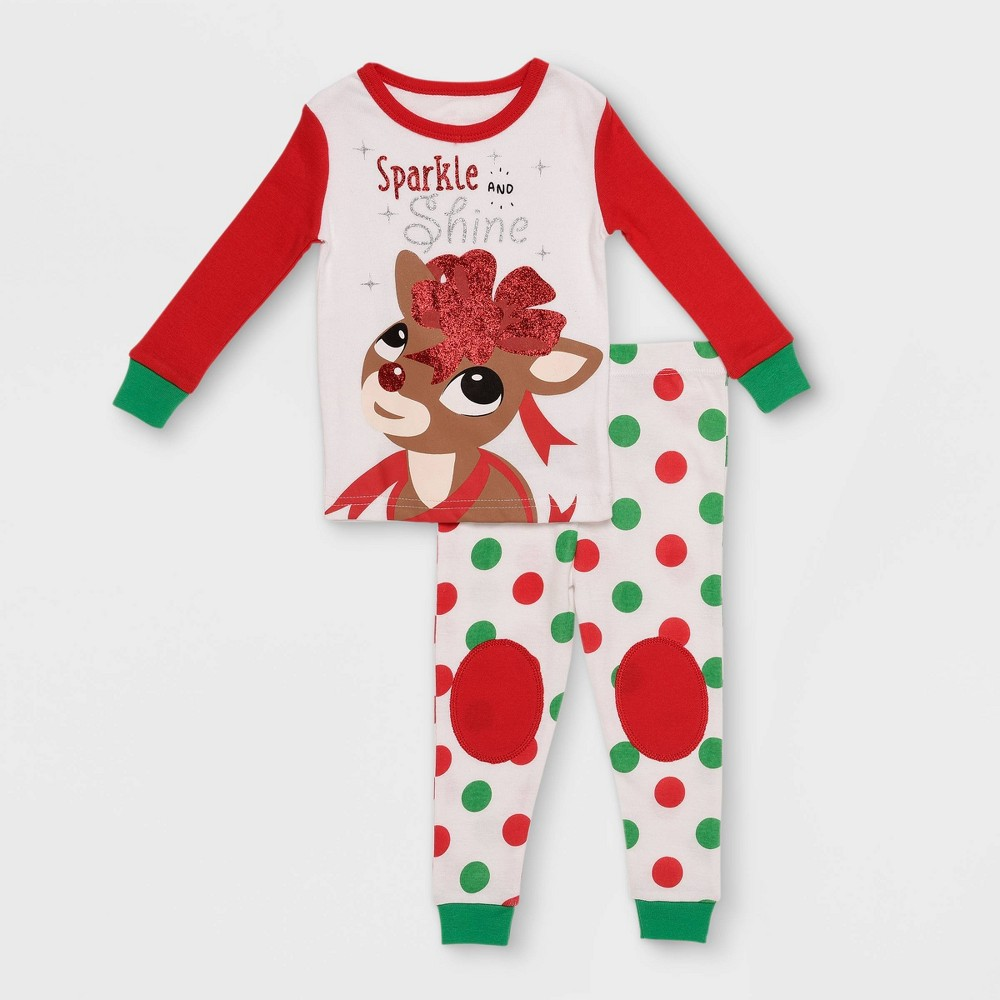 Image of Baby Girls' 2pc Rudolph the Red-Nosed Reindeer 'Sparkle and Shine' Pajama Set - White 12M, Girl's, Red/White
