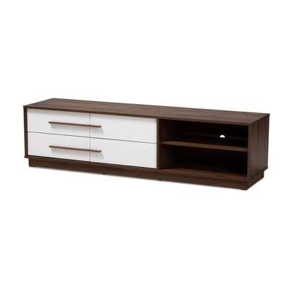 Mette Walnut Finished Wood Tv Stand White - Baxton Studio