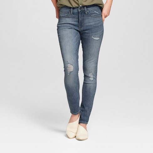 Women's High-Rise Destructed Skinny Jeans - Universal Thread™ Medium Wash - image 1 of 3