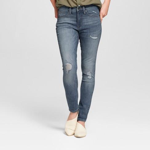 Women's High-Rise Distressed Skinny Jeans - Universal Thread™ Medium Wash - image 1 of 3