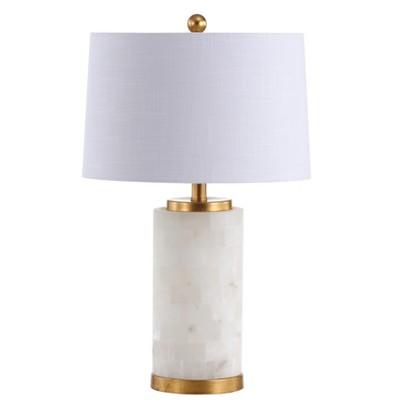 25.5  Eliza Alabaster LED Table Lamp White (Includes Energy Efficient Light Bulb)- JONATHAN Y