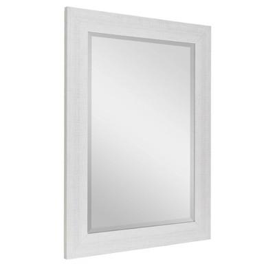 """31.5"""" x 43.5"""" Textured Wash Plank Frame Mirror White - Head West"""