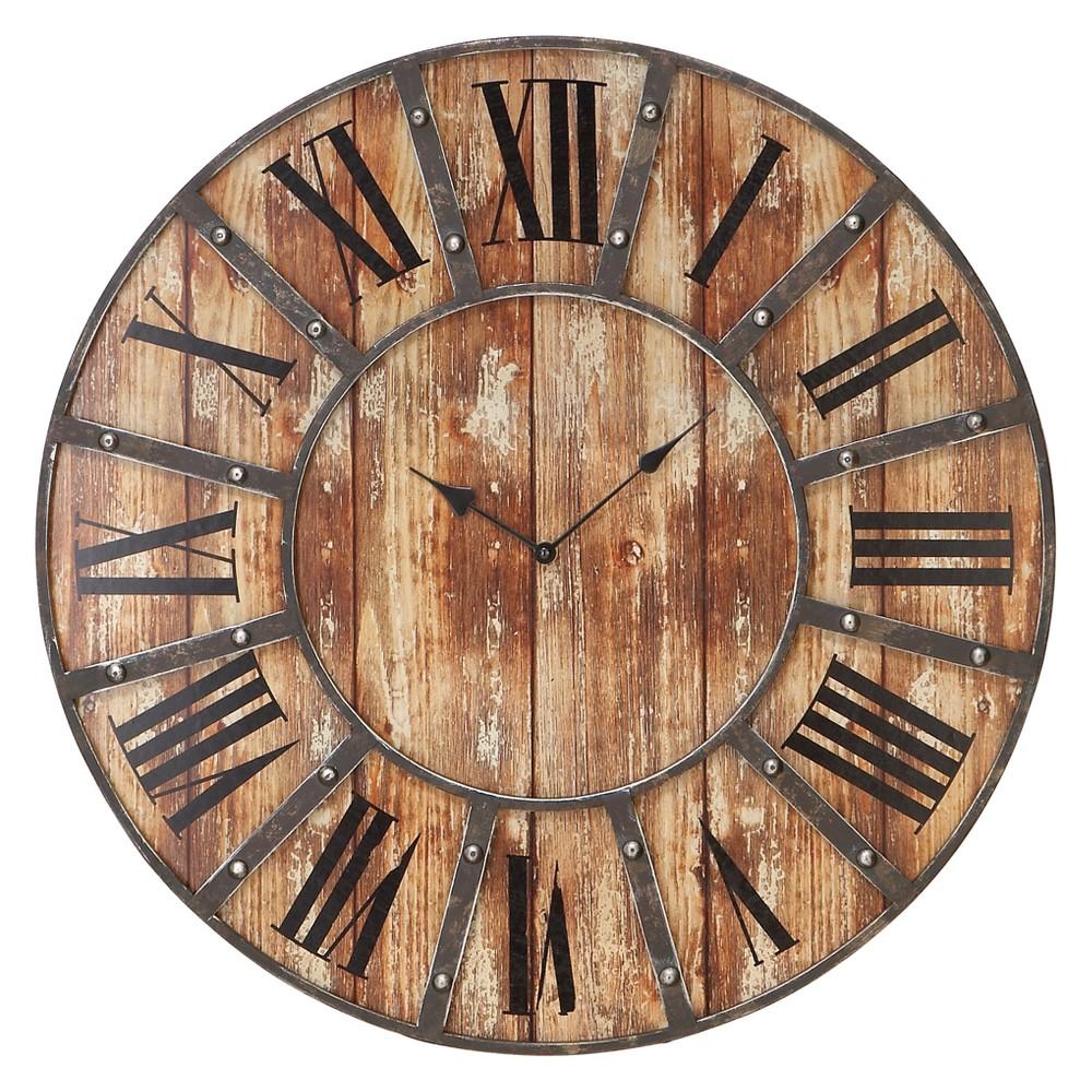 Metal Rustic Wood Round Clock 24 - Olivia & May