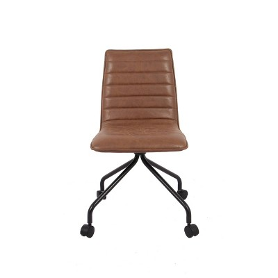 Modern Office Chair with Channeling Walnut Faux Leather - WOVENBYRD