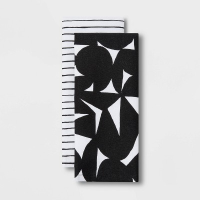 2pk Cotton Geometric Kitchen Towels Black - Room Essentials™