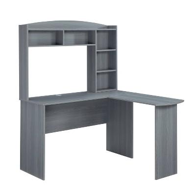 Modern L Shaped Desk with Hutch Gray - Techni Mobili