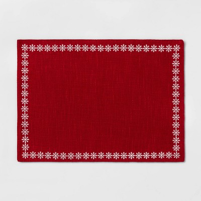 Snowflake Border Placemat Red - Threshold™