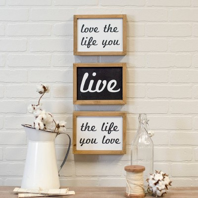 Wood  Live/Love  Wall Sign Panels 7  x 9  (Set of 3)- VIP Home & Garden
