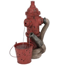 """Classic 28"""" Fire Hydrant and Hose Outdoor Water Fountain - Sunnydaze Decor"""