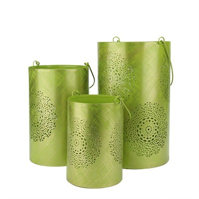 """Northlight Set of 3 Green and Gold Decorative Floral Cut-Out Pillar Candle Lanterns 10"""""""