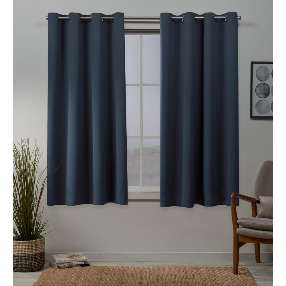 Set of 2 84x52 Sateen Woven Blackout Grommet Top Window Curtain Panel Vintage Indigo - Exclusive Home Best