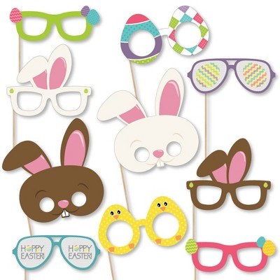 Big Dot of Happiness Hippity Hoppity Glasses & Masks - Paper Card Stock Easter Bunny Party Photo Booth Props Kit - 10 Count