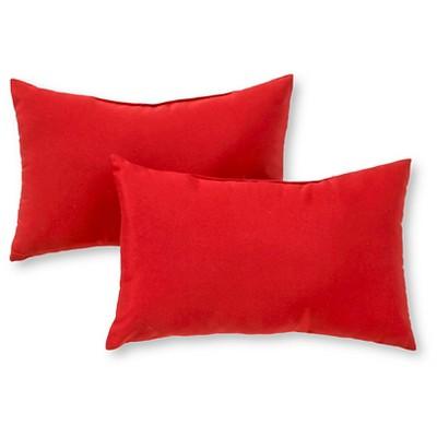 Set of 2 Solid Outdoor Rectangle Throw Pillows - Salsa - Kensington Garden