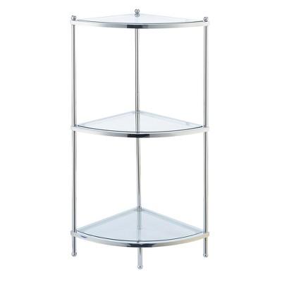 """35.5"""" Royal Crest 3 Tier Corner Shelf Chrome  - Breighton Home"""