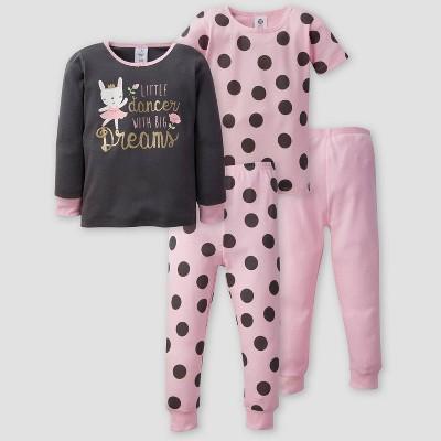 Gerber Toddler Girls' 4pc Bunny Pajama Set - Light Pink