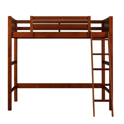 Houston Kids' Wooden Loft Bed with Ladder Walnut - Dorel Living
