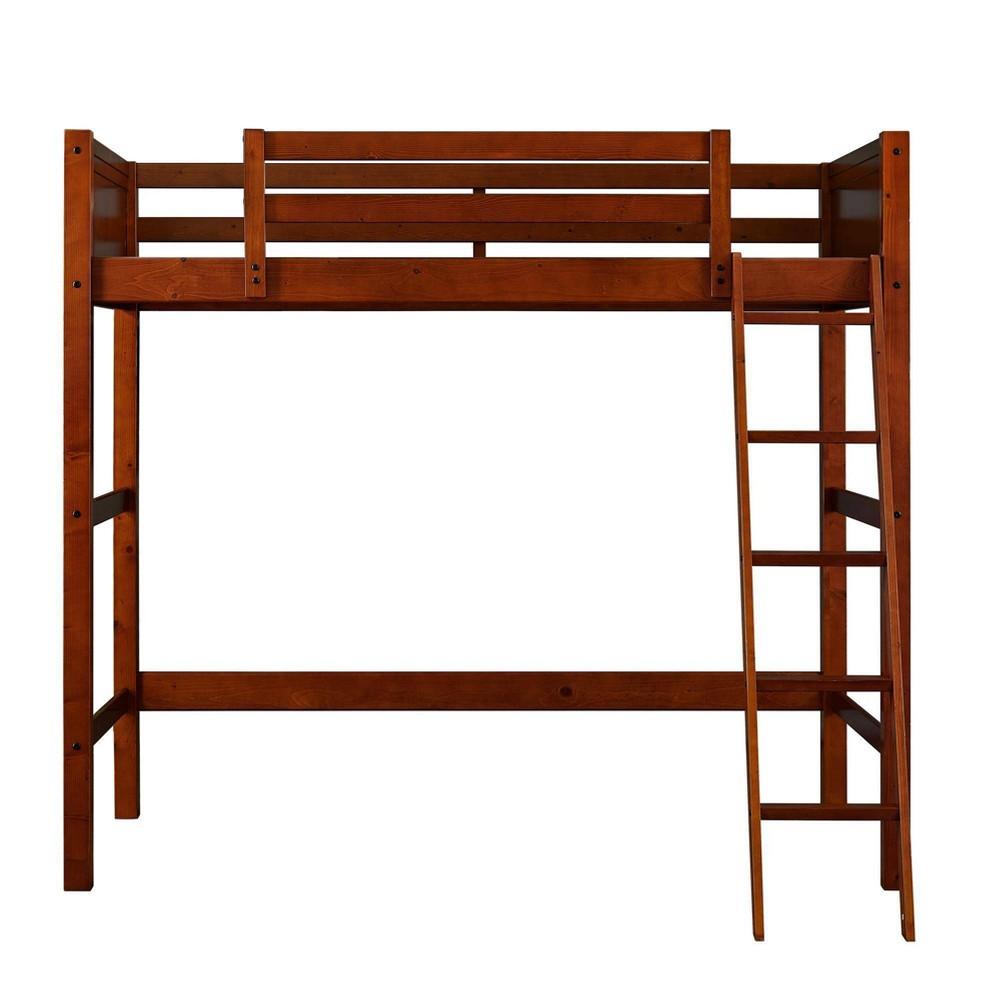 Image of Houston Kids Wooden Loft Bed with Ladder Walnut - Dorel Living