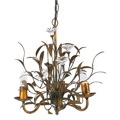 Metal Chandelier with Ceramic Flowers Gold - image 1 of 2
