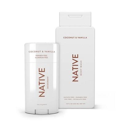 Native Coconut & Vanilla Deodorant 2.65oz and Native Coconut & Vanilla Body Wash 18oz - Bundle