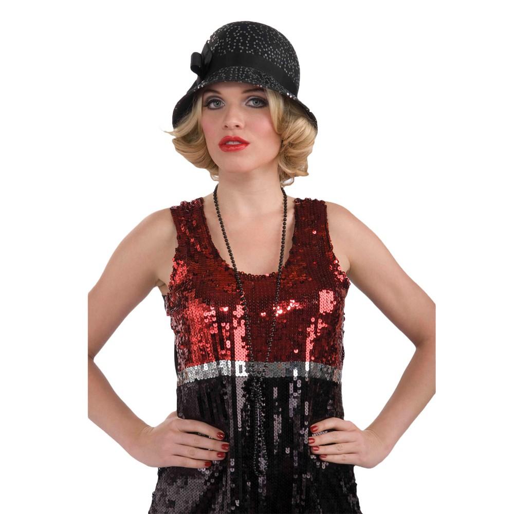 Flapper Hat Sequin Black, Women's