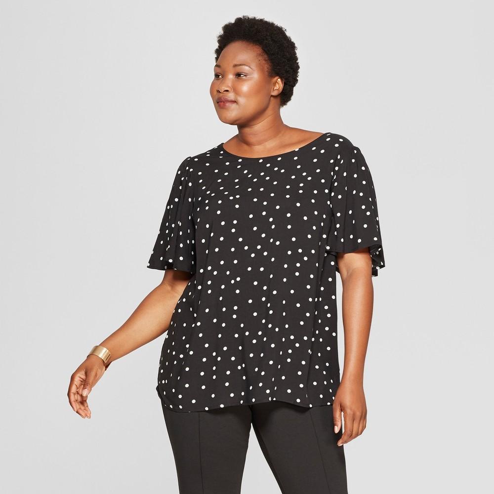 Women's Plus Size Polka Dot Short Flutter Sleeve Top - Ava & Viv Black/White 3X