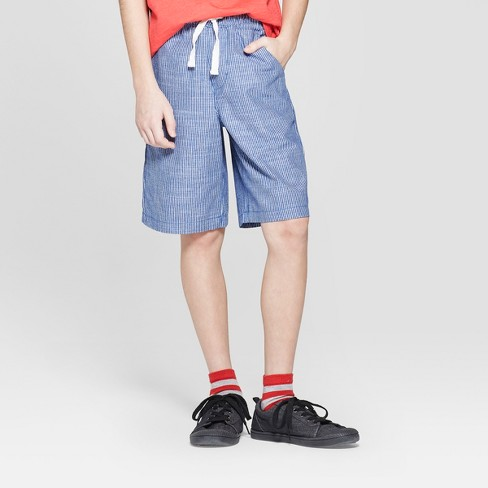 Boys' Striped Pull-On Shorts - Cat & Jack™ Blue - image 1 of 3