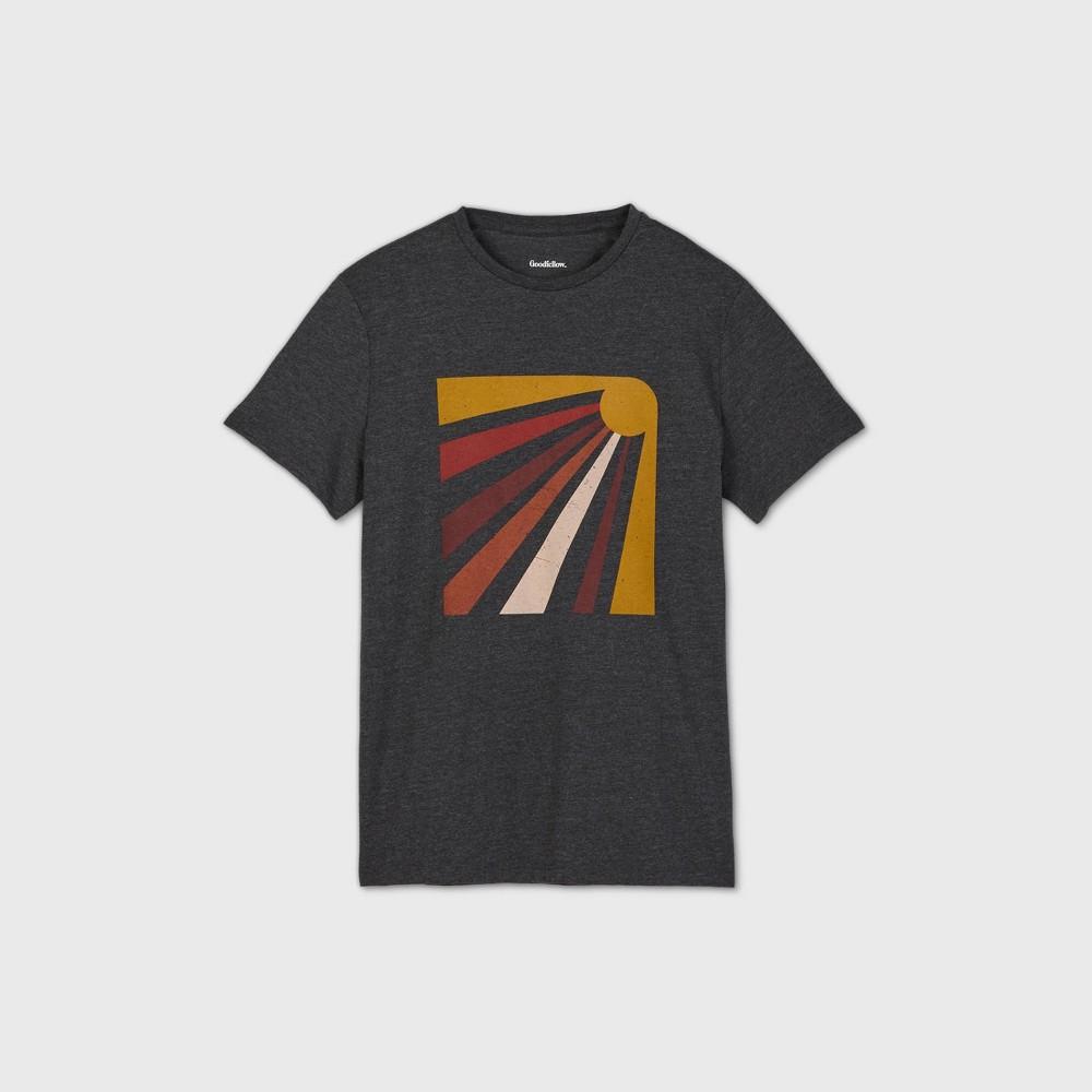 Men 39 S Regular Fit Graphic Crewneck T Shirt Goodfellow 38 Co 8482 Charcoal Gray Sun M