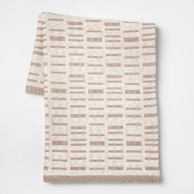 60 x50  Woven Linework Throw Blankets Cream - Project 62™