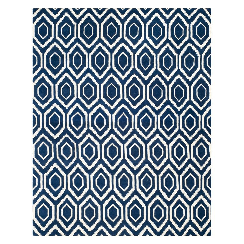 8'9X12' Geometric Tufted Area Rug Dark Blue/Ivory - Safavieh
