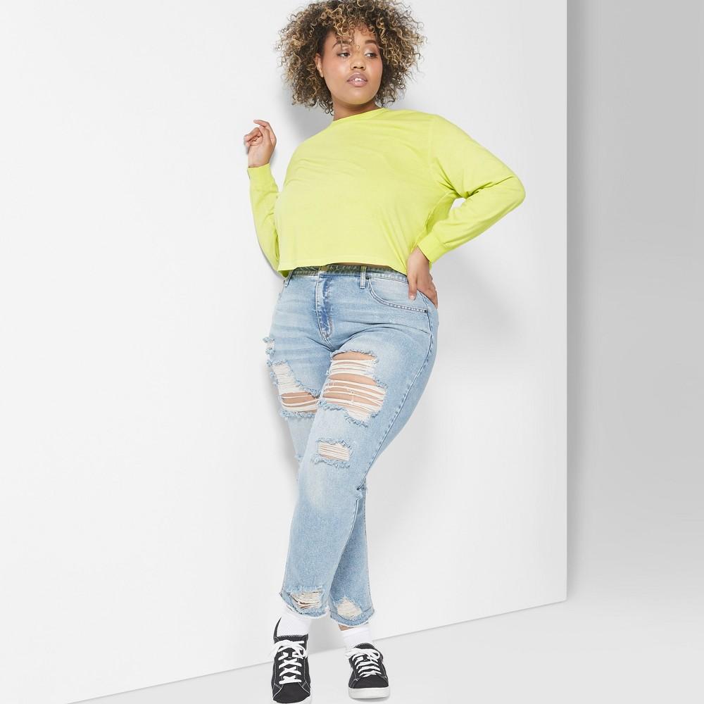 Women's Plus Size Long Sleeve Skater T-Shirt - Wild Fable Citrus Yellow 1X