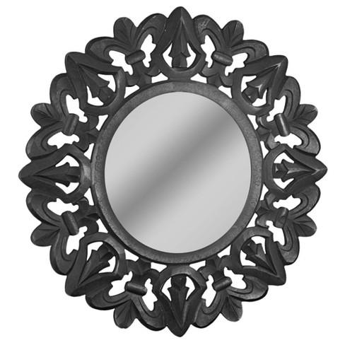 Hand Carved Wood Medallion Sunburst, Carved Wood Mirror Target