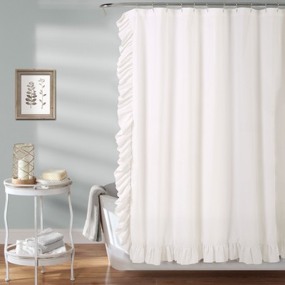 Reyna Solid Shower Curtain White - Lush Décor