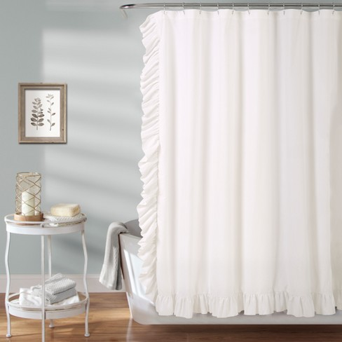 Reyna Solid Shower Curtain White - Lush Décor - image 1 of 2