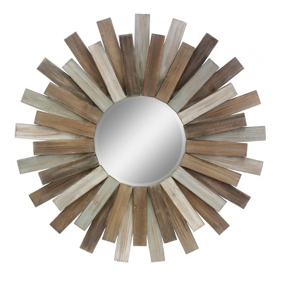 Hexagon Mirror Brown 31 x 32 - Stonebriar Collection