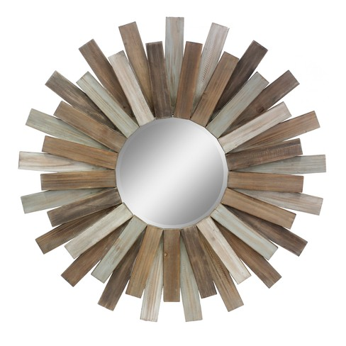 Hexagon Mirror Brown 31 x 32 - Stonebriar Collection - image 1 of 6