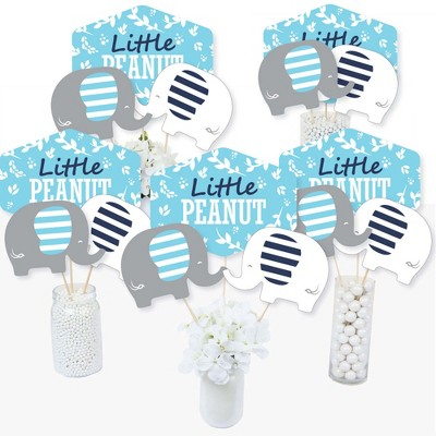 Big Dot of Happiness Blue Elephant - Boy Baby Shower or Birthday Party Centerpiece Sticks - Table Toppers - Set of 15
