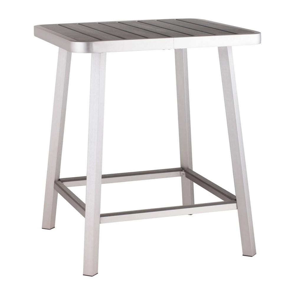 Modern Brushed Aluminum 35 34 Square Bar Table Zm Home