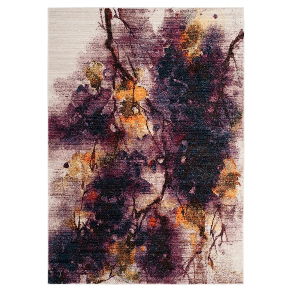 Ivory/Lavender Branch Loomed Area Rug 5'X7' - Safavieh, White Purple