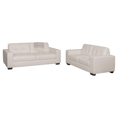 Club 2pc Tufted White Bonded Leather Sofa Set   Corliving