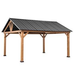 """12"""" x 14"""" 4-sided Steel Top Outdoor Gazebo - Sunjoy"""