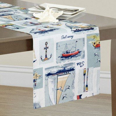 Sail Away Nautical Stain Resistant Indoor/Outdoor Table Runner - Elrene Home Fashions
