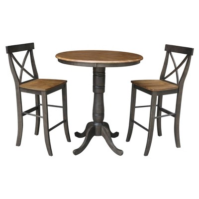 """36"""" Lourda Round Pedestal Bar Height Table with 2 X Back Bar Stools Dining Sets Hickory Brown - International Concepts"""